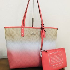 NWT Coach ombre reversible tote &wristlet